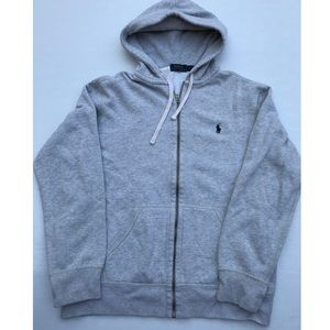 POLO Ralph Lauren Grey Zip up Hoodie Sweater LARGE